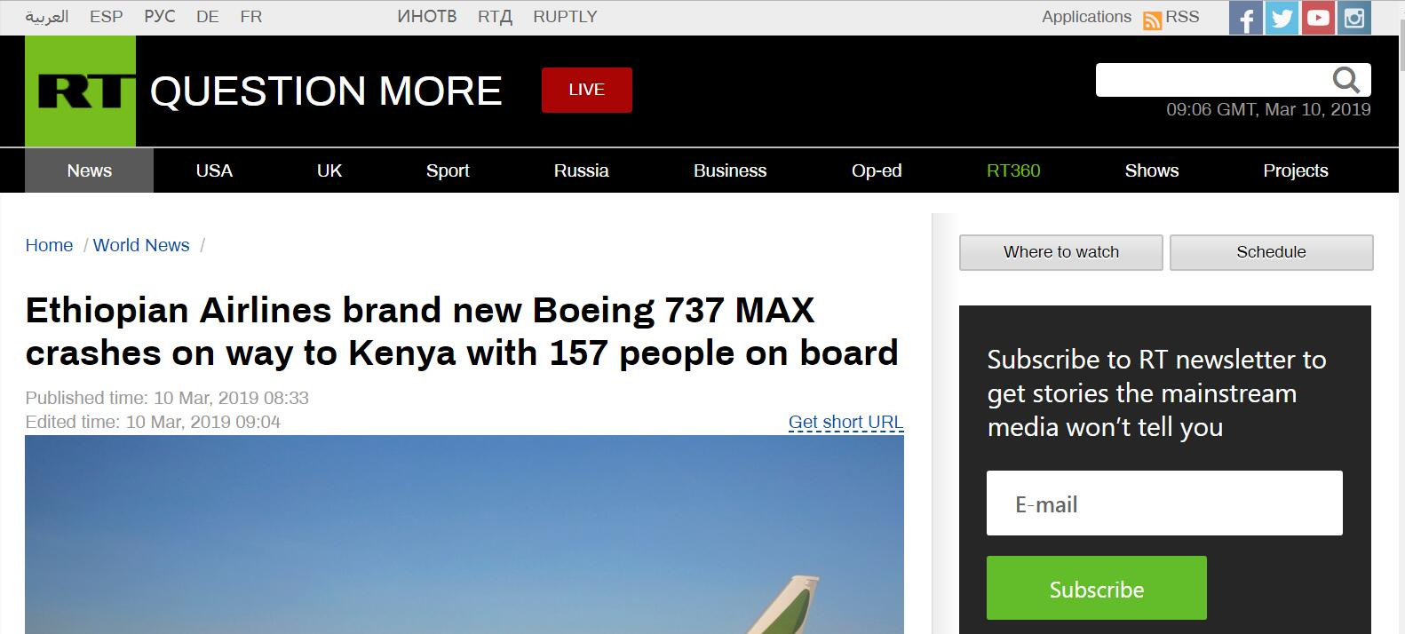 埃塞俄比亚航空公司一架载有157人的客机坠毁 机上没有生还者