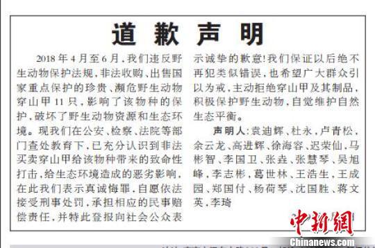 非法买卖11只穿山甲 21人被追刑责并集体登报道歉