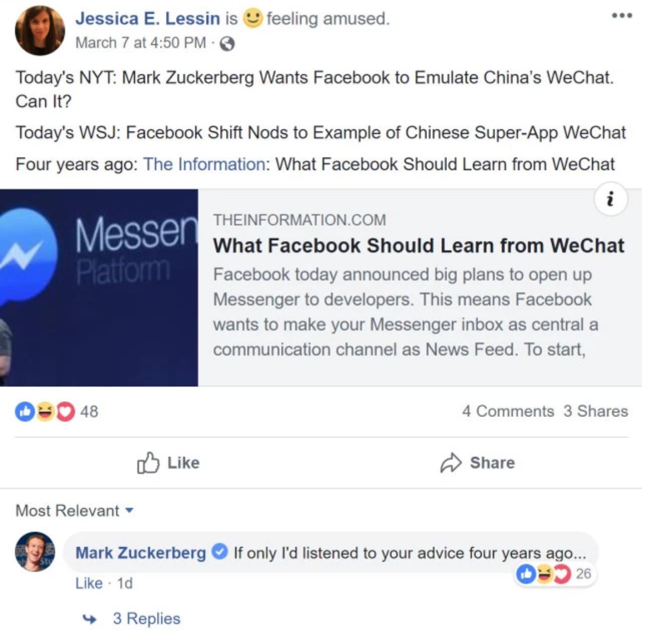 脸书向微信靠拢 扎克伯格:后悔没早点学微信