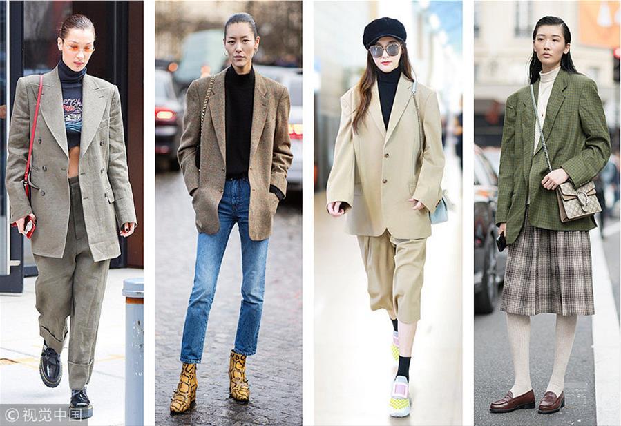 廓形西装搭高领 如今唐嫣、刘雯都在穿