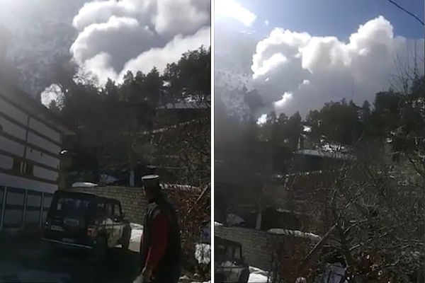 惊险时刻:印度山区发生雪崩 山村被雪云吞没