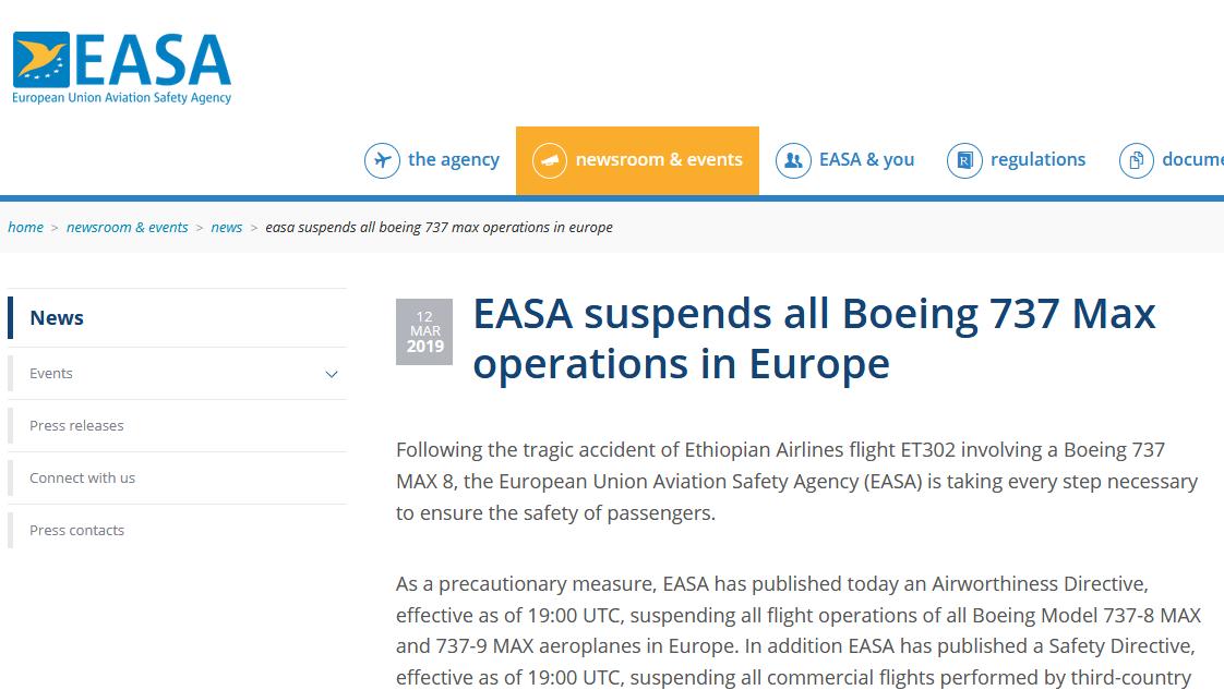 """欧洲航空安全局:对波音737MAX客机实施欧洲""""禁飞令"""""""