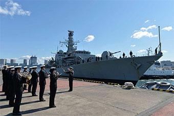 日驱逐舰迎接英国护卫舰抵达东京访问