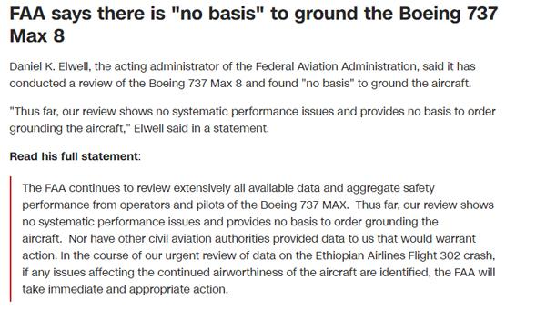 真·与众不同!美国航空管理局坚称波音问题机型没问题,无依据停飞