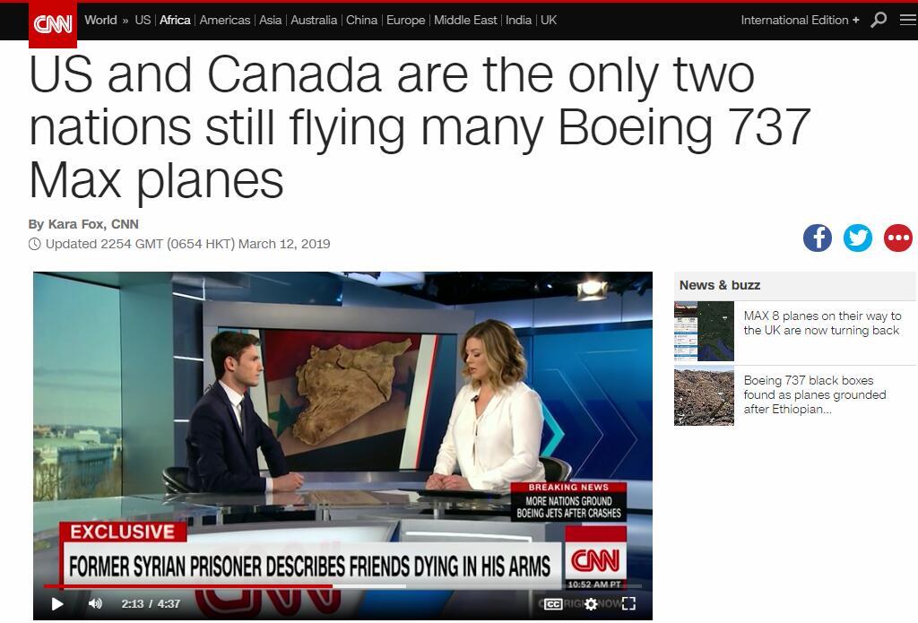 CNN:美国,加拿大,只有这两国还在飞波音737max客机!