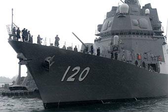 日本新锐战舰不知火号首次进入大凑基地正式服役