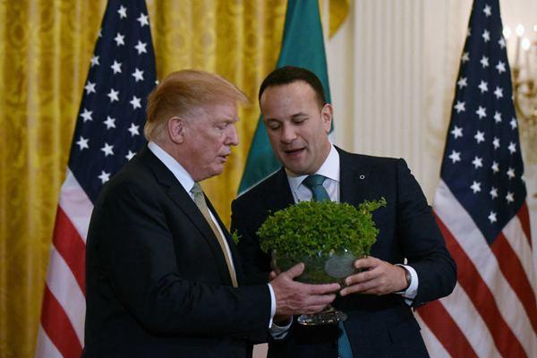 """美国总统特朗普在白宫会见爱尔兰总理 获赠""""三叶草""""礼物"""