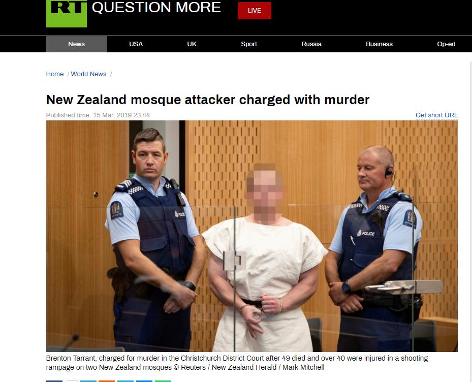 """快讯!新西兰""""清真寺屠杀""""嫌犯出庭,面无表情"""