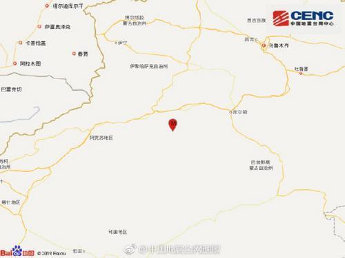 新疆阿克苏地区库车县发生4.0级地震 震源深度10千米