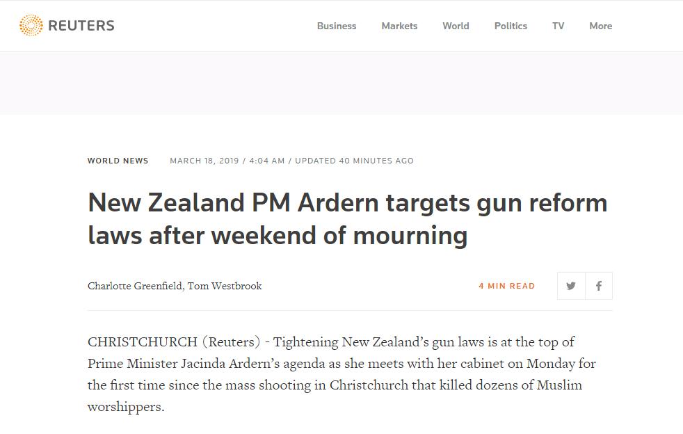 枪击案后,新西兰就更严控枪法达成一致