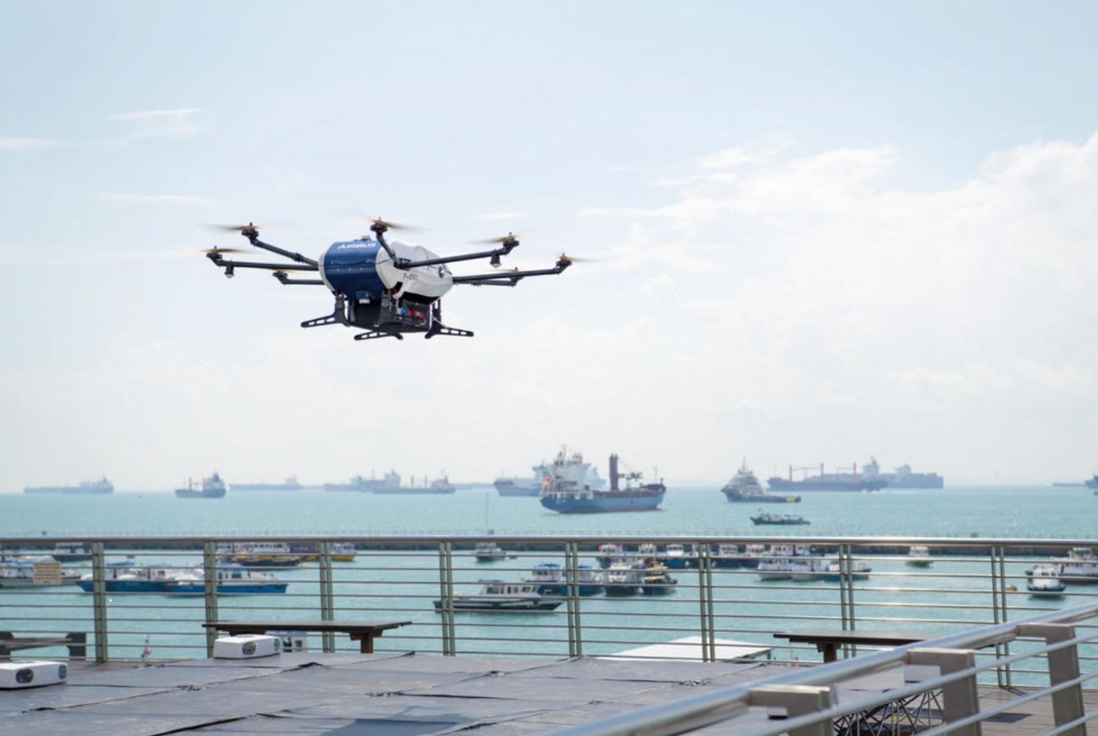 空客无人机为海上船舶运送首批包裹 只花10分钟