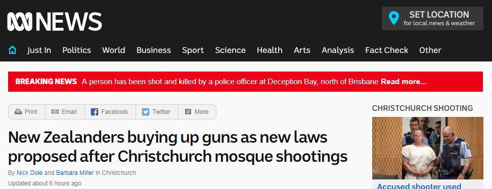 因担心枪支管制 新西兰枪击案后枪支购买人数上升
