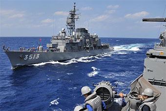 日本训练舰队离开越南岘港 将继续海上训练