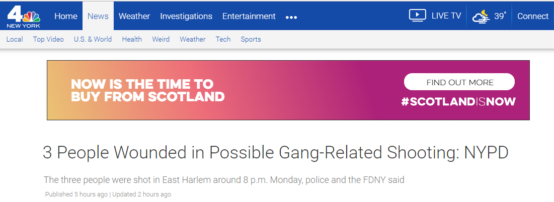 纽约曼哈顿发生枪击案 三人受伤