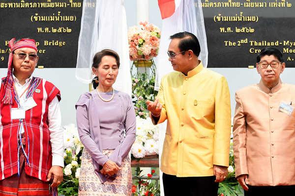 泰缅边境第二座泰缅友谊大桥竣工 巴育及昂山素季出席活动
