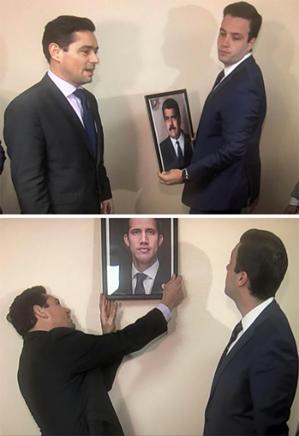 委内瑞拉反对派接管驻美外交机构,取下马杜罗像挂上瓜伊多的