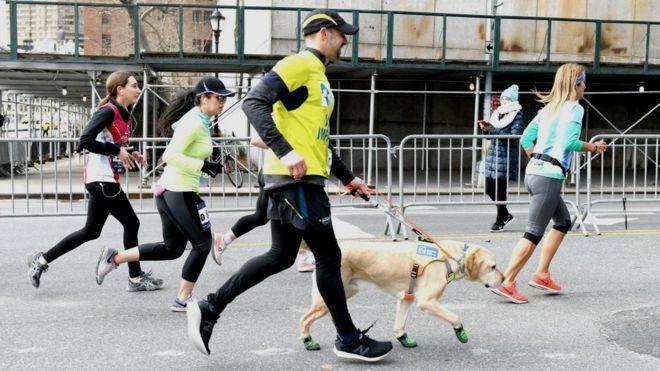 21千米!美国盲人跑者带导盲犬跑半马 其中一只终点退役