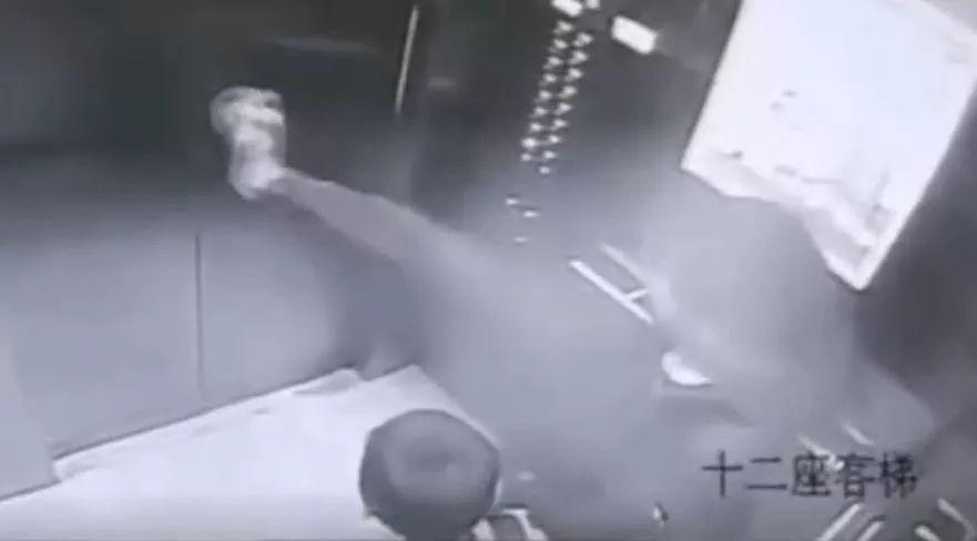 电梯门上有只蚊子,他飞起一脚……结果麻烦大了!