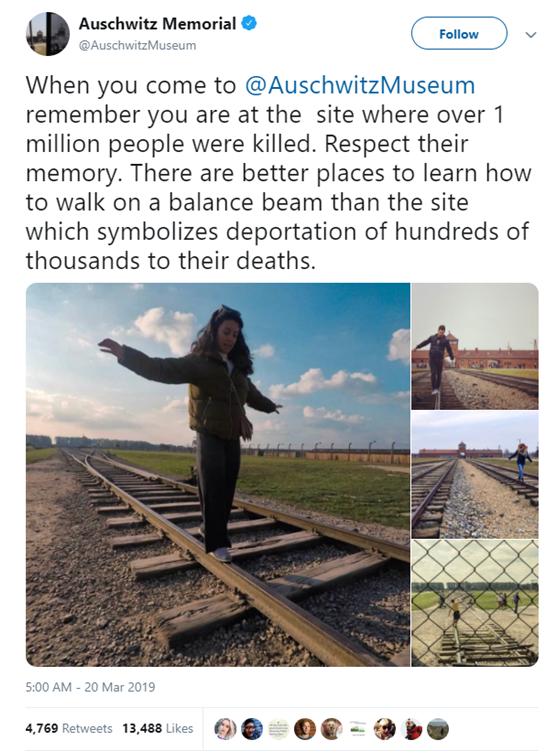 """""""请不要在铁轨上摆拍"""",奥斯维辛怀念馆吁游客恭敬逝者"""