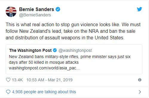新西兰总理下令禁枪 美网友喊话特朗普:禁枪吧!