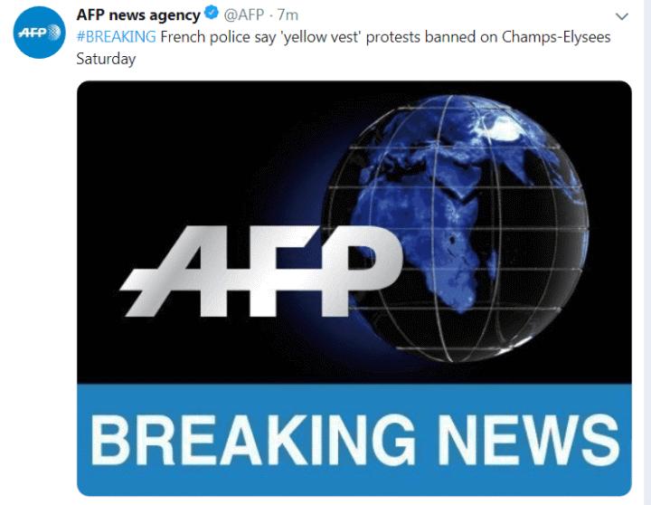 """快讯!法国警方禁止""""黄背心""""抗议者周六在香榭丽舍大街举行抗议活动"""