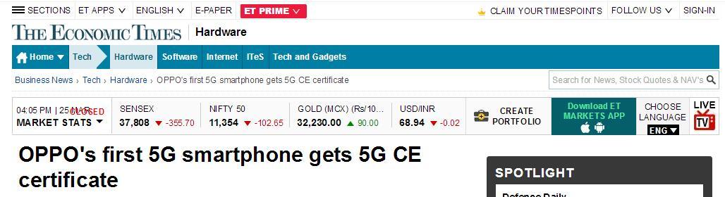 OPPO 5G手机获得CE认证 具备进入欧洲市场条件