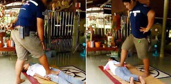 按摩需谨慎!泰女子尝试按摩治疗不料腿被踩断