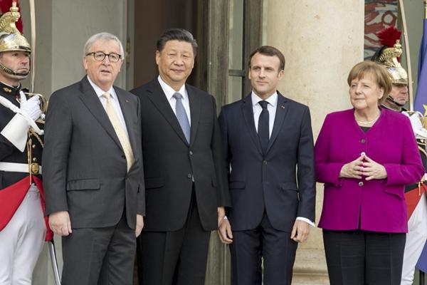习近平同出席中法全球治理论坛闭幕式的欧洲领导人举行会