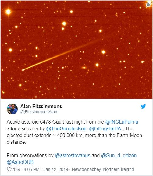 哈勃望远镜捕捉到小行星6478 Gault的两道碎屑尾迹