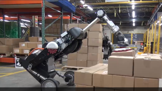 波士顿动力又有黑科技:两足轮式机器人这样搬箱子