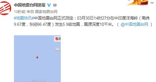 中印度洋海岭发生5.9级地震,震源深度10千米