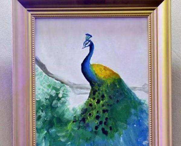 王诗龄10岁作品,一幅《孔雀图》公益拍卖10万,网友:值了值了