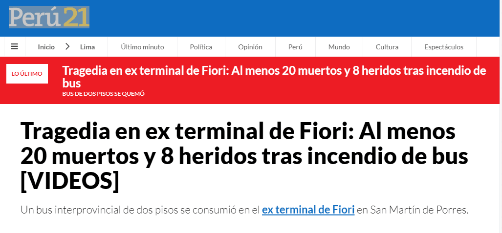 秘鲁巴士起火 造成至少20人死亡