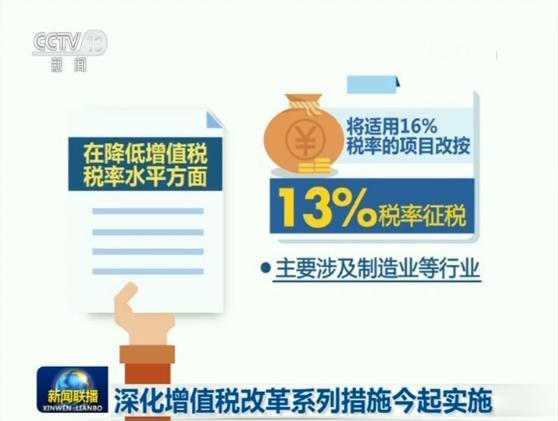 深化增值税改革系列措施今起实施
