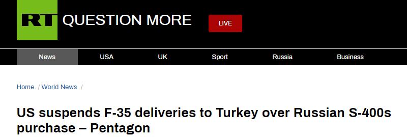 土耳其坚持购买俄罗斯导弹防御系统,美国:F-35不给了