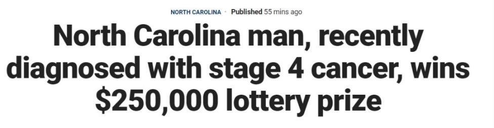 真不是愚人节玩笑!癌症晚期男子一不小心,中了彩票大奖!