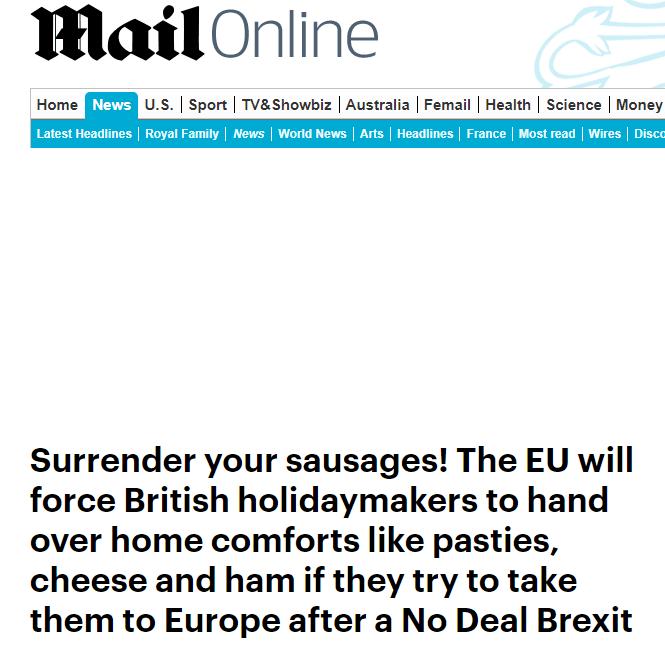"""再也不能带香肠了!""""无协议脱欧""""将使赴欧英旅客受严格审查"""