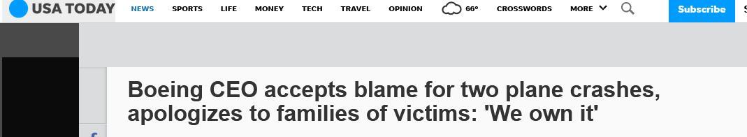 波音CEO就两起坠机事件向遇难者家属道歉:我们的责任