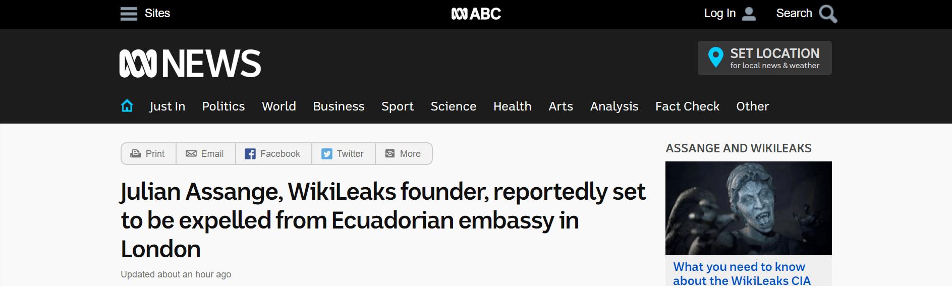 澳媒:维基解密创始人阿桑奇将被逐出厄瓜多尔驻伦敦大使馆
