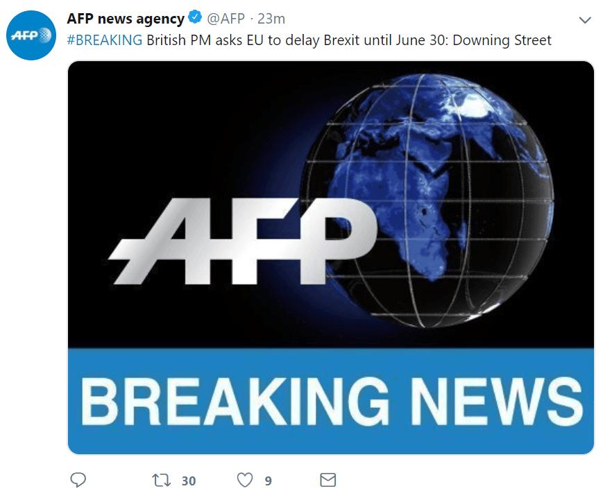 英首相特雷莎?梅致信欧洲理事会主席:要求将脱欧推迟至2019年6月30日