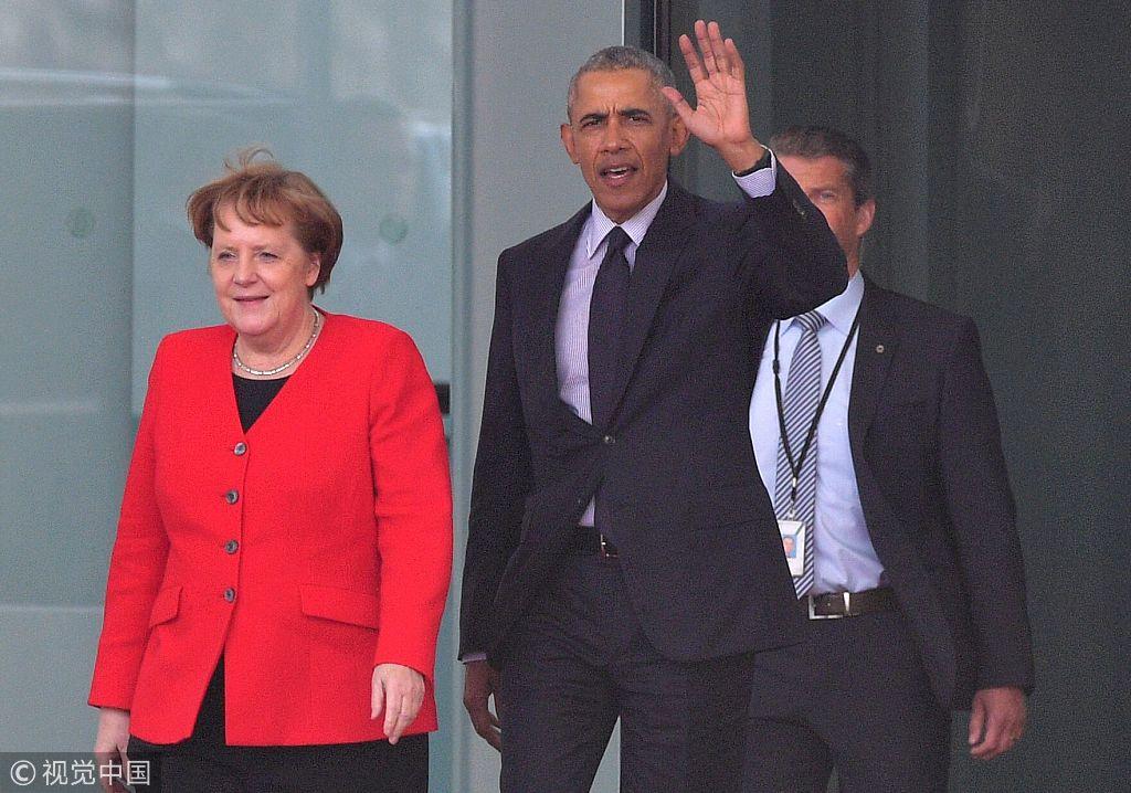 德国总理默克尔会见来访的美国前总统奥巴马