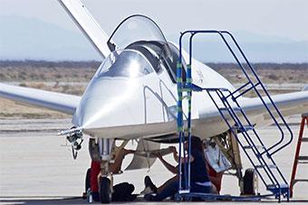 美国最新载人喷气式飞机测试 外形很科幻