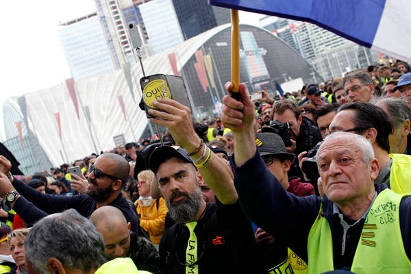 """法第21轮""""黄背心""""示威:迄今为止规模最小 巴黎43人被拘"""