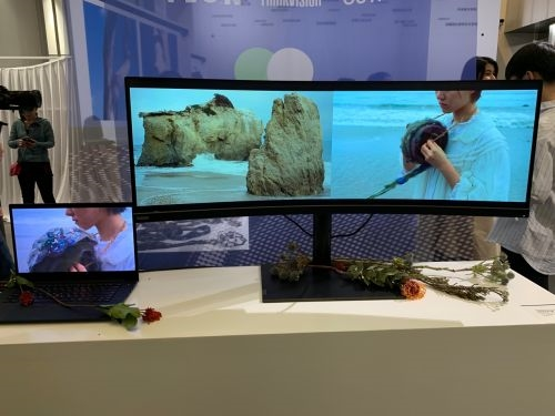 联想首款超宽屏曲面显示器亮相:比例夸张
