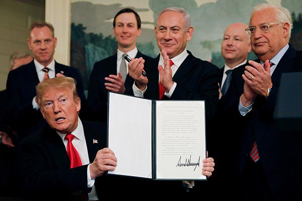 """特朗普自曝在""""速成历史课""""后决定承认戈兰高地是以色列领土"""