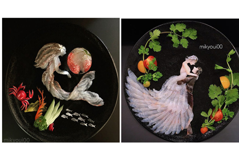 日本一男子用生鱼片创作出令人惊叹的艺术品