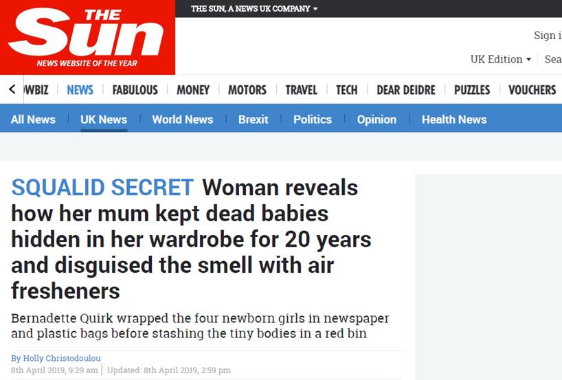 英媒披露上世纪末杀婴藏尸案,隐匿20年后终被发现