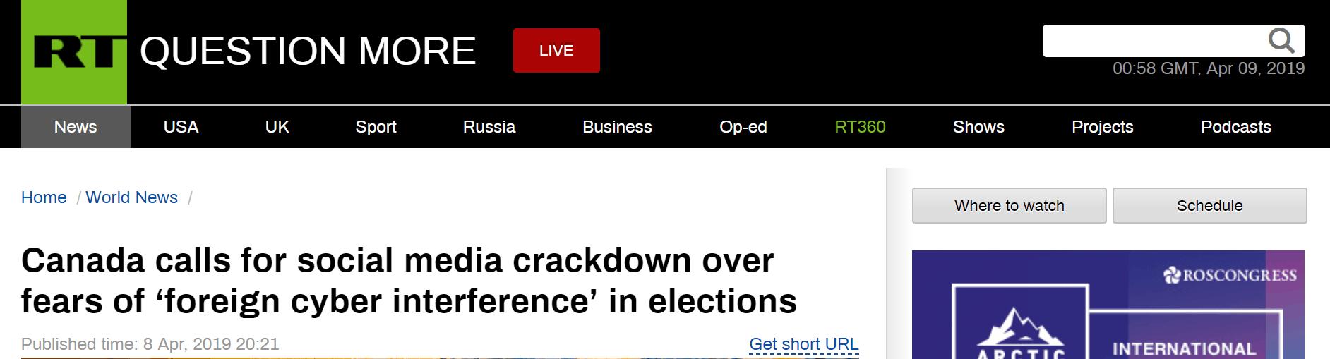 因担心外国网络干涉选举 加拿大呼吁对社交媒体进行监管
