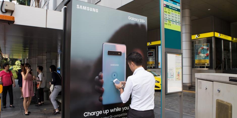 三星将新加坡公交车站变为手机无线充电站