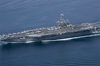 美国斯坦尼斯号航母率领舰队离开波斯湾